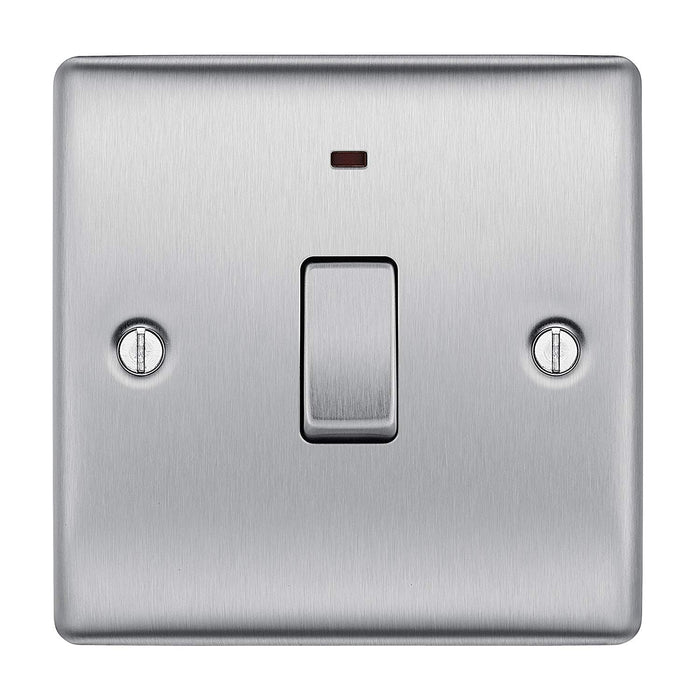 BG Nexus NBS31 Brushed Steel 20A Double Pole Switch With Power Indicator - BG - sparks-warehouse