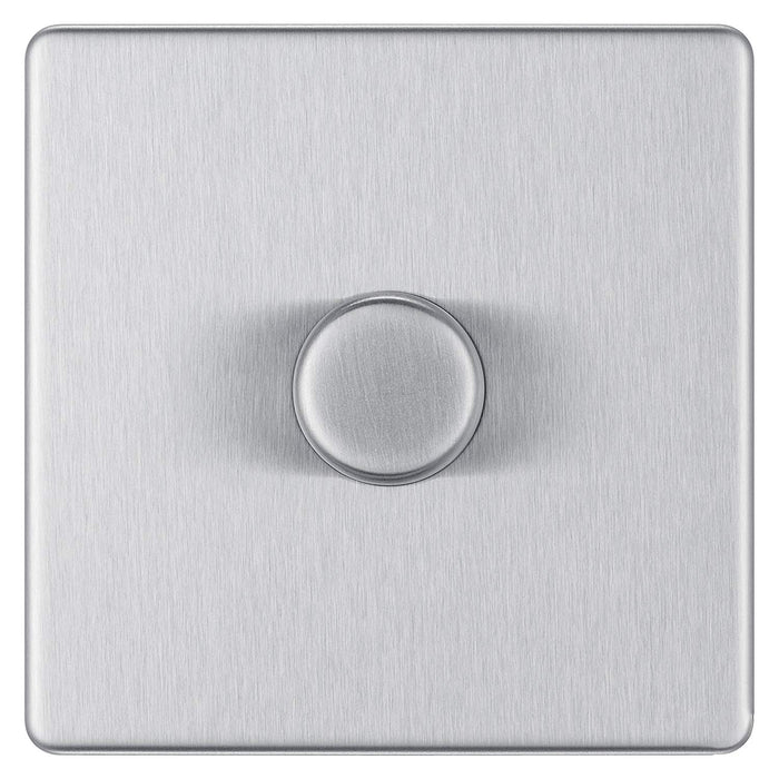BG FBS81P Screwless Flat Plate Brushed Steel 400W 1 Gang 2 Way Push Dimmer - BG - sparks-warehouse