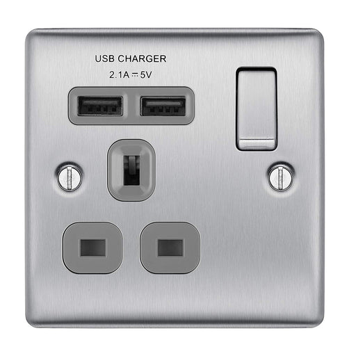BG Nexus NBS21U2G Brushed Steel Single Socket with 2 USB Ports (2.1A) - BG - Sparks Warehouse