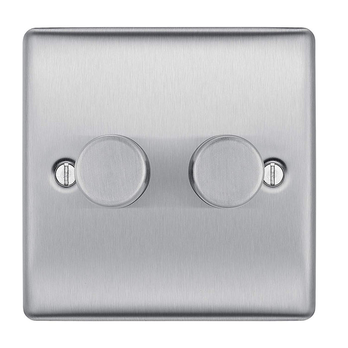 BG Nexus NBS82P Brushed Steel 400W 2 Gang 2 Way Push Dimmer - BG - sparks-warehouse