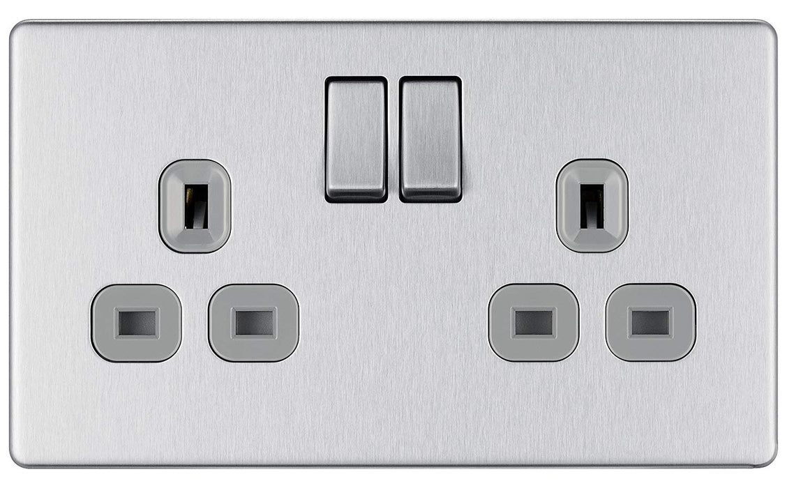 BG FBS22G Screwless Flat Plate Brushed Steel 2G DP Switched Socket - Grey Insert - BG - sparks-warehouse