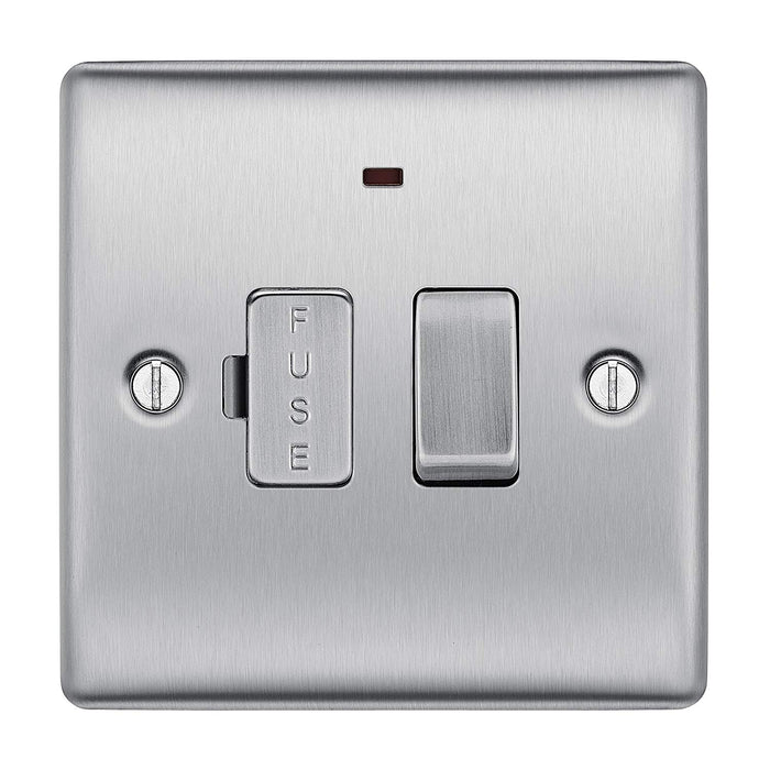 BG Nexus NBS52 Brushed Steel 13A Fused Connection Unit Switched With Power Indicator - BG - sparks-warehouse