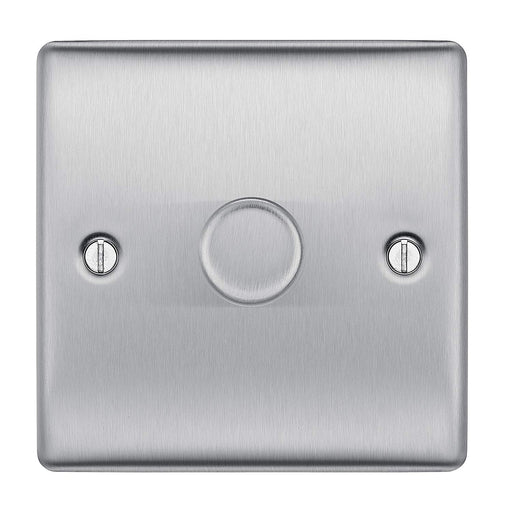 BG Nexus NBS81P Brushed Steel 400W 1 Gang 2 Way Dimmer
