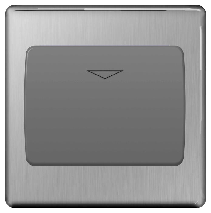 BG FBSKYCSG Screwless Flat Plate Brushed Steel 16A Hotel Key Card Switch - Grey Insert - BG - sparks-warehouse