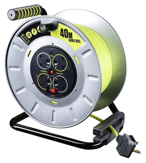 BG Masterplug OTLU40134SL-PX - Pro XT 4 Gang Large Metal Open Cable Reel with Switch and LED 40m - BG - Sparks Warehouse