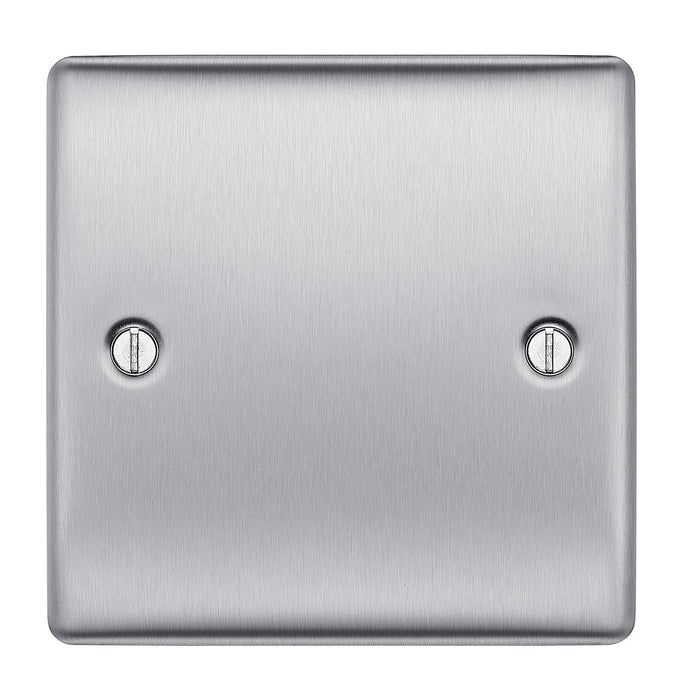 BG Nexus NBS94 Brushed Steel 1 Gang Blank Plate - BG - sparks-warehouse