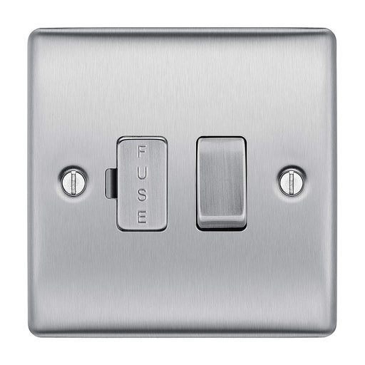 BG Nexus NBS50 Brushed Steel 13A Fused Connection Unit Switched - BG - sparks-warehouse