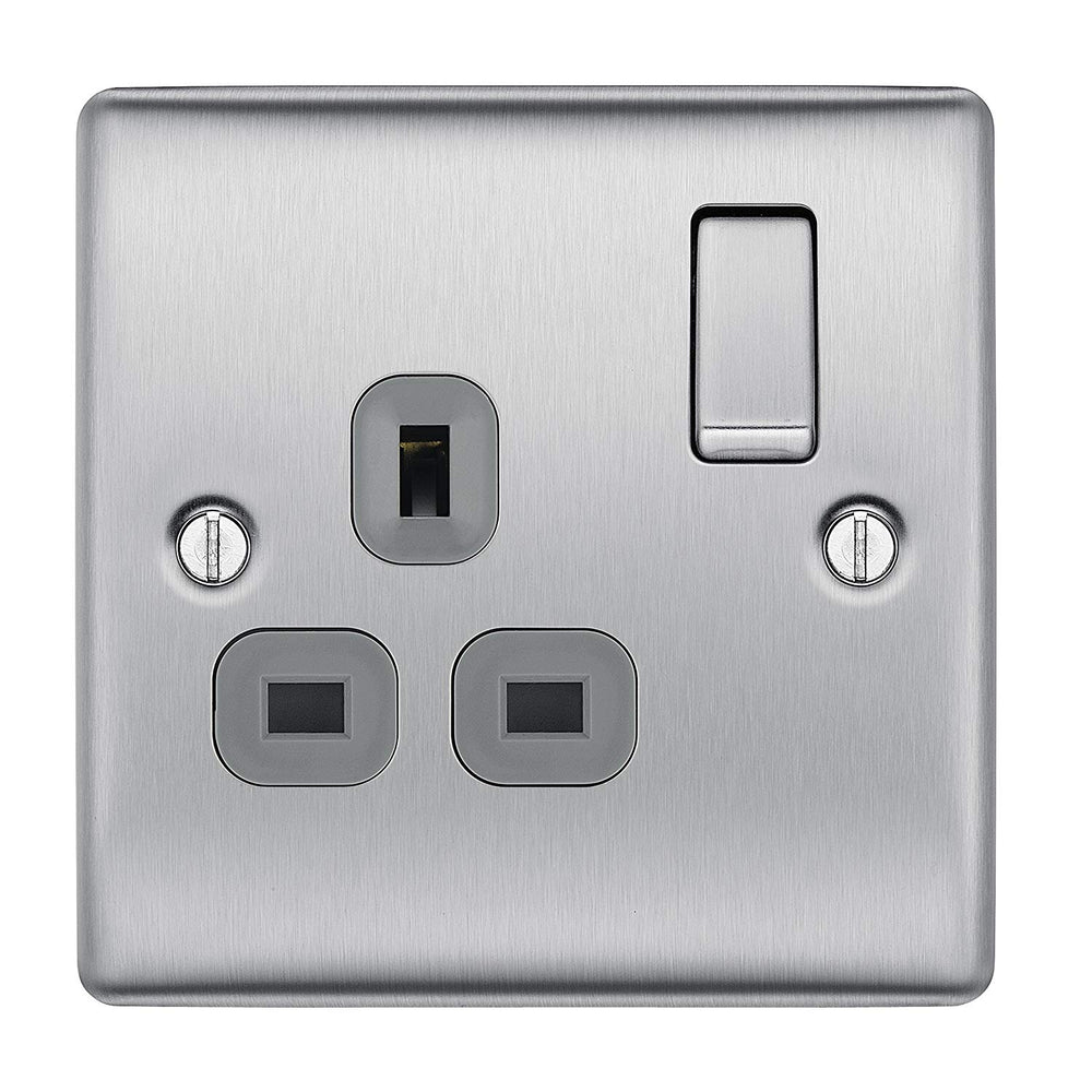 BG Nexus NBS21G Gang Brushed Steel 13A 1G Double Pole Switched Socket Grey Inserts - BG - sparks-warehouse