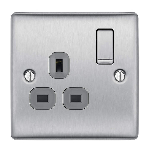 BG Nexus NBS21G Gang Brushed Steel 13A 1G Double Pole Switched Socket Grey Inserts