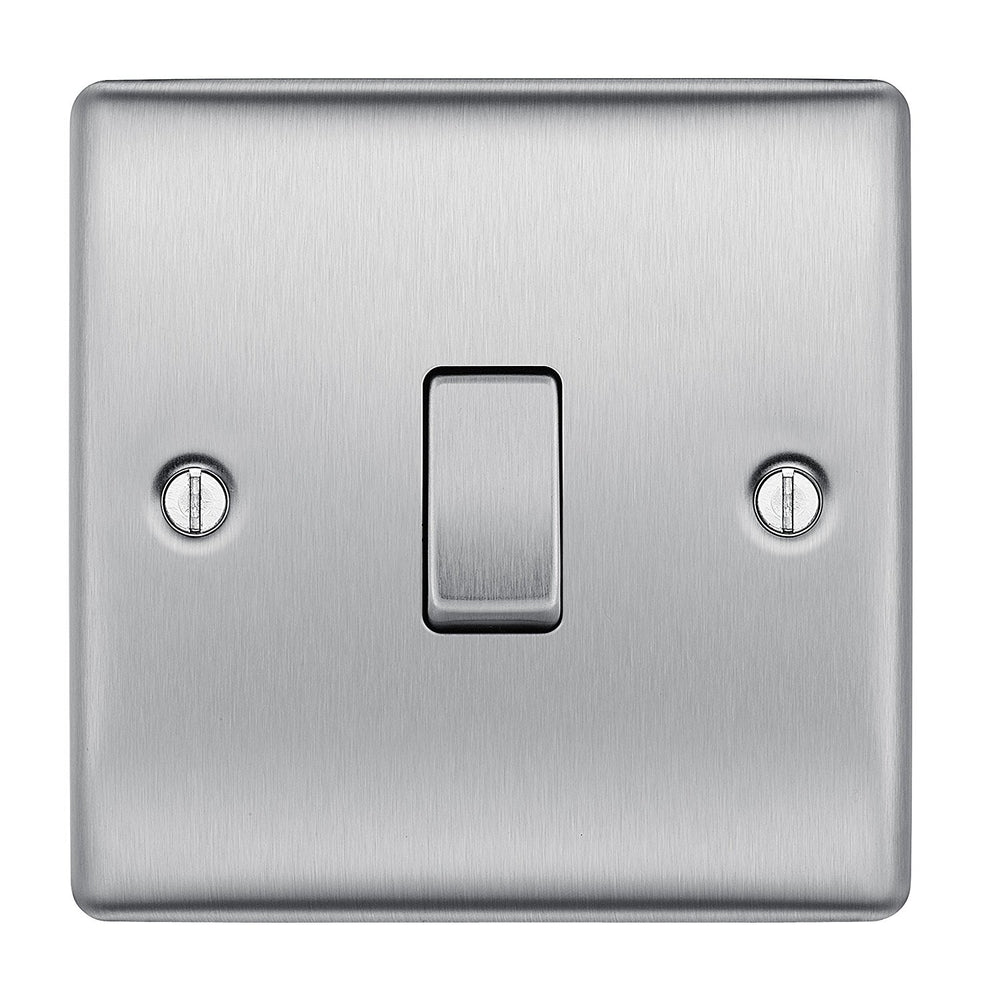 BG Nexus NBS12 | Brushed Steel Light Switch | Sparks Warehouse