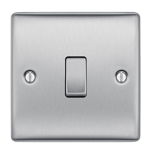 BG Nexus NBS12 Brushed Steel Single Gang 2 Way Light Switch - BG - sparks-warehouse
