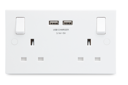 BG Nexus 922U3 13A 2G Switched Socket With USB Charger - White