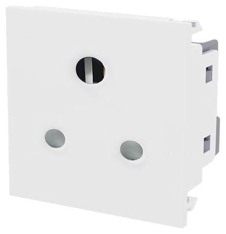 BG EM5ASW 5A Round Pin Unswitched Euro Module  Socket White