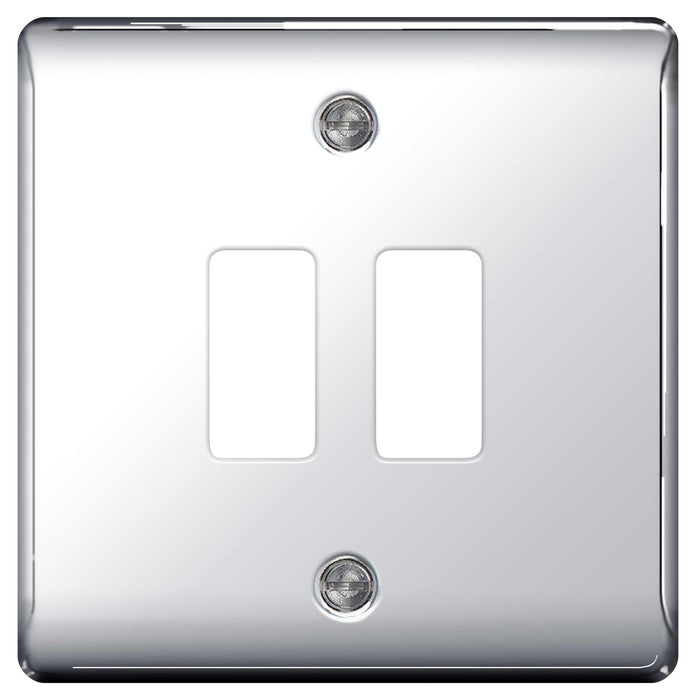 BG Nexus GNPC2 Grid Chrome 2 Gang Front Plate - BG - sparks-warehouse