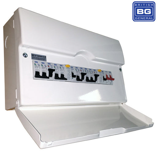 BG CFDP18610 Metal Dual RCD Populated 10 Way Consumer Unit With Switch & 1X 80A & 1X 63A 30MA RCD, 10X MCBS, 16 Module