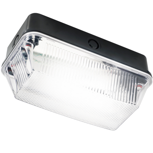 Knightsbridge BH22PB IP65 60W B22 Bulkhead Clear PRISMATIC DIFFUSER & Black PLASTIC BASE - Knightsbridge - sparks-warehouse