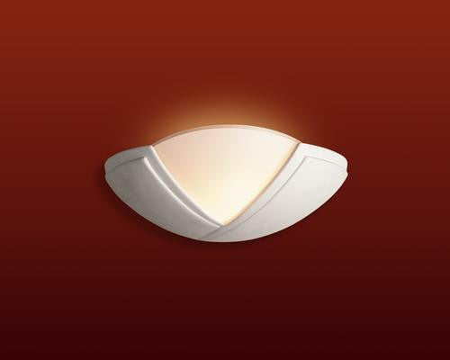 Firstlight C322UN Ceramic Wall Light - 100w - Unglazed with Acid White Glass