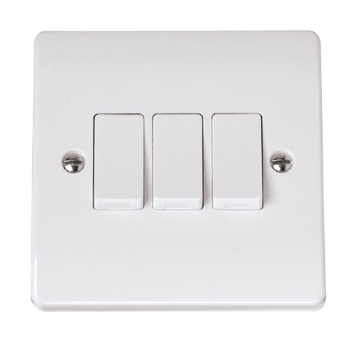 Scolmore CCA013 - 10AX 3 Gang 2 Way Plate Switch - Scolmore - Sparks Warehouse