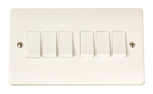 Scolmore Click CCA105 6 Gang 2 Way Plate Switch - White Plastic - Scolmore - Sparks Warehouse