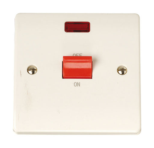 Scolmore Click CCA201 45A 1 Gang Cooker Switch With Neon - White Plastic - Scolmore - Sparks Warehouse