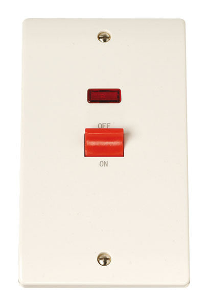 Scolmore Click CCA203 45A 1 Gang Cooker Switch With Neon - White Plastic - Scolmore - Sparks Warehouse