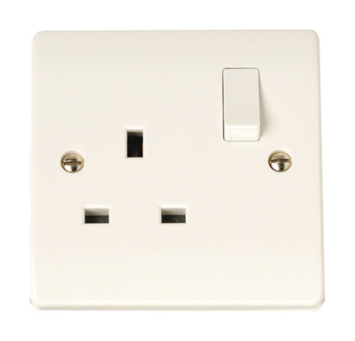 Scolmore Click CCA605 13A Single Gang Switched Socket - White Plastic - Scolmore - Sparks Warehouse