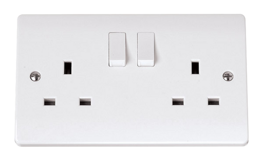 Scolmore Click CCA606 13A 2 Gang Switched Socket - White Plastic - Scolmore - Sparks Warehouse