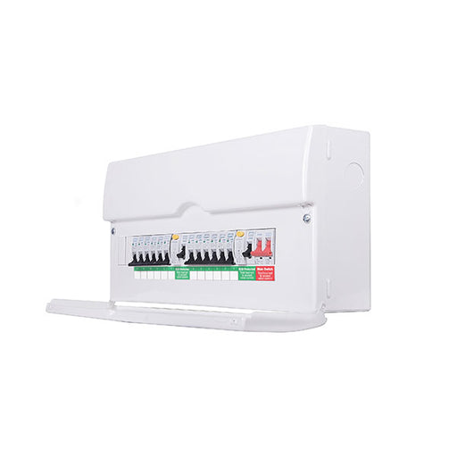 BG CFUDP18616 Metal Dual RCD Populated 16 Way Consumer Unit with Switch & 12 MCBs, 22 Module