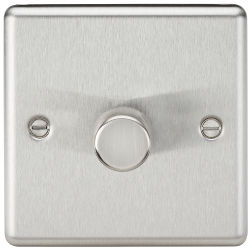 Knightsbridge CL2181BC 1G 2 Way 40-200W Dimmer - Rounded Edge Brushed Chrome - Knightsbridge - Sparks Warehouse
