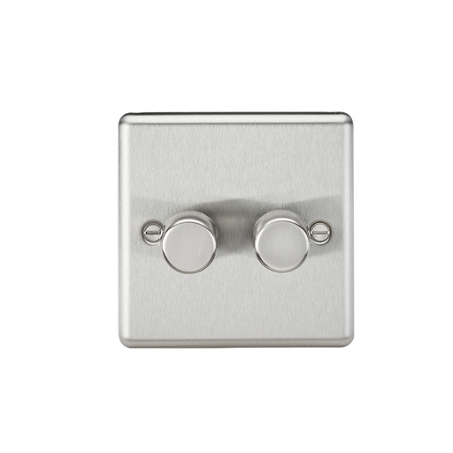 Knightsbridge CL2182BC 2G 2 Way 40-400W Dimmer - Rounded Edge Brushed Chrome - Knightsbridge - Sparks Warehouse