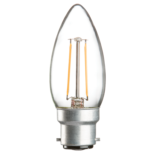 Knightsbridge CL2BCC 230V 2W LED 35mm Candle BC Clear