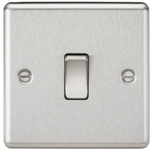 Knightsbridge CL2BC 1G 2 way Light Switch - Rounded Edge Brushed Chrome