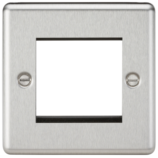Knightsbridge CL2GBC 2G Modular Faceplate - Rounded Edge Brushed Chrome - Knightsbridge - Sparks Warehouse