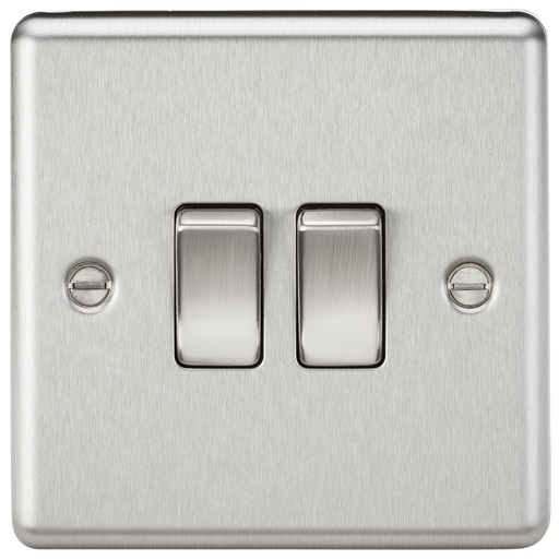 Knightsbridge CL3BC 2 Gang 2 way Light Switch - Rounded Edge Brushed Chrome
