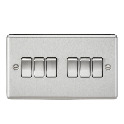 Knightsbridge CL42BC 10A 6G 2 Way Plate Switch - Rounded Edge Brushed Chrome