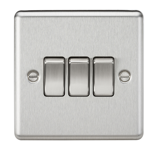 Knightsbridge CL4BC 3 Gang 2 way Light Switch - Rounded Edge Brushed Chrome