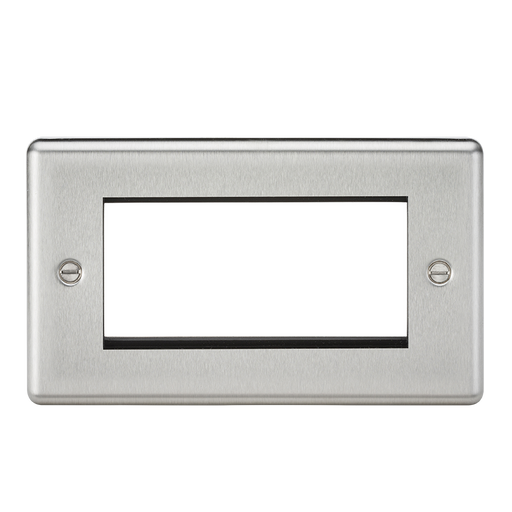 Knightsbridge CL4GBC 4G Modular Faceplate - Rounded Edge Brushed Chrome - Knightsbridge - Sparks Warehouse