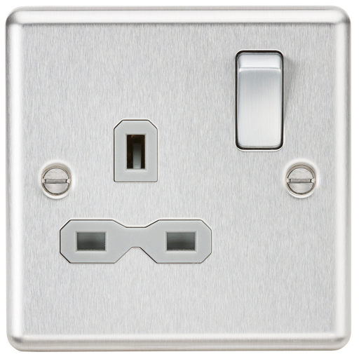 Knightsbridge CL7BCG 13A 1G DP Switched Socket with Grey Insert - Rounded Edge Brushed Chrome - Knightsbridge - Sparks Warehouse