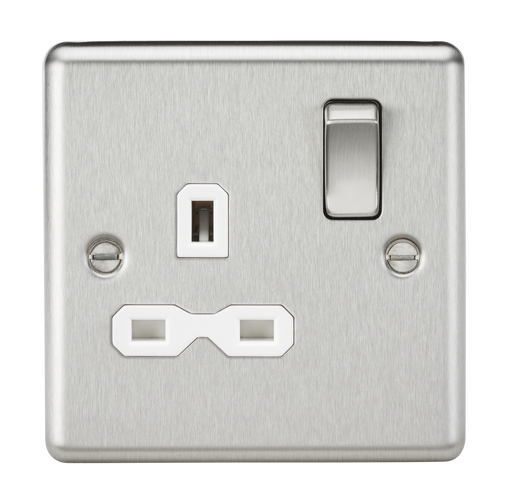 Knightsbridge CL7BCW 13A 1G DP Switched Socket with White Insert - Rounded Edge Brushed Chrome