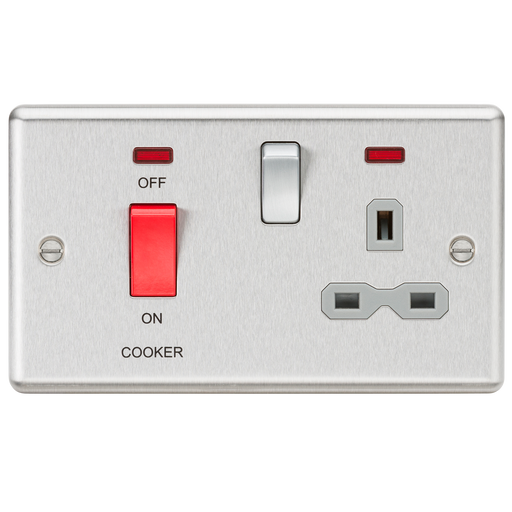 Knightsbridge CL83BCG 45A DP Cooker Switch & 13A Switched Socket - Neon & Grey Insert - Rounded Edge Brushed Chrome - Knightsbridge - Sparks Warehouse