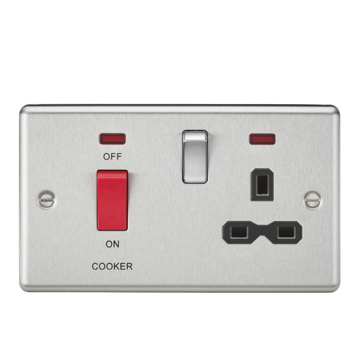 Knightsbridge CL83BC 45A DP Cooker Switch & 13A Switched Socket - Neon & Black Insert - Rounded Edge Brushed Chrome