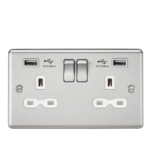 Knightsbridge CL9224BCW 13A 2G DP Switched Socket With White Inserts - USB Rounded Edge Brushed Chrome - Grey insert - Knightsbridge - Sparks Warehouse