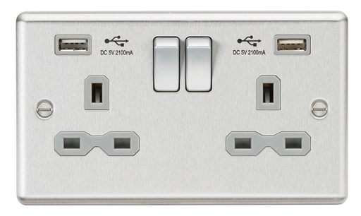 Knightsbridge CL9224BCG 13A 2G DP Switched Socket - USB Rounded Edge Brushed Chrome - Grey insert