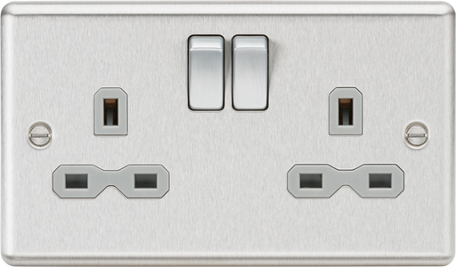 Knightsbridge CL9BCG 13A 2G DP Switched Socket Grey Insert - Rounded Edge Brushed Chrome - Knightsbridge - Sparks Warehouse