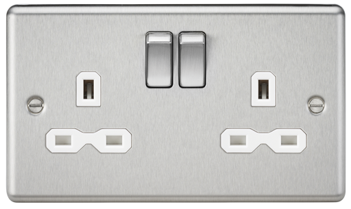 Knightsbridge CL9BCW 13A 2G DP Switched Socket White Insert - Rounded Edge Brushed Chrome