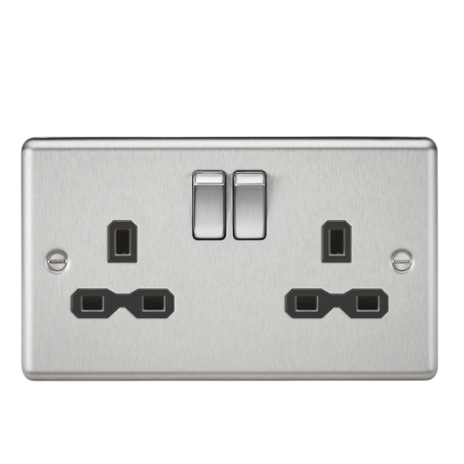 Knightsbridge CL9BC 13A 2G DP Switched Socket Rounded Edge Brushed Chrome - Black inserts