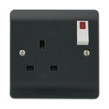 Scolmore CMA835AG - 13A 1 Gang DP Switched Socket With Neon