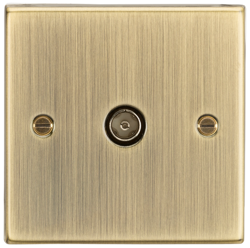 Knightsbridge CS010AB 1 Gang TV/Coax Socket- Square Edge Antique Brass - Knightsbridge - Sparks Warehouse