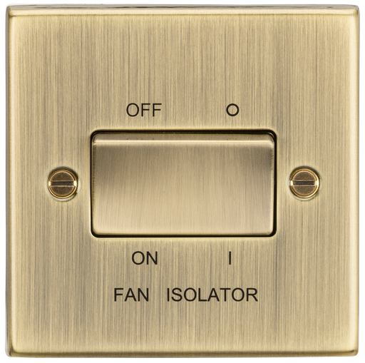 Knightsbridge CS11AB 10A 3 Pole Fan Isolator Switch - Square Edge Antique Brass - Knightsbridge - Sparks Warehouse