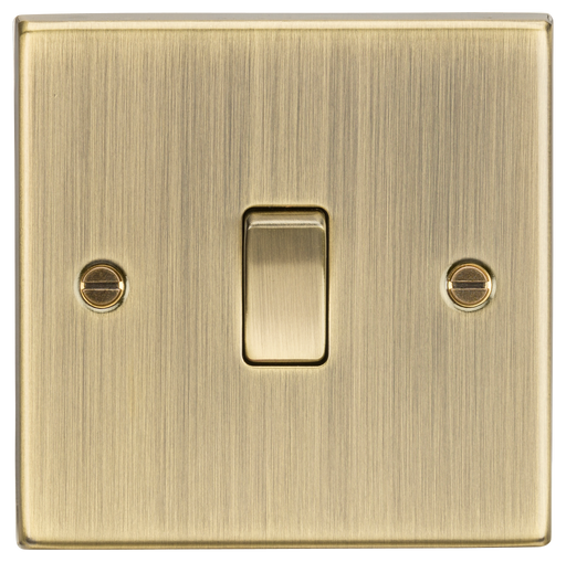 Knightsbridge CS2AB 1G 2 way Light Switch - Square Edge Antique Brass - Knightsbridge - Sparks Warehouse